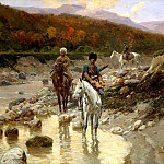 Franz Roubaud - Cossacks in the mountain river, 900 Classic russian paintings