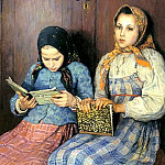 Bogdanov-Belsky Nikolai – Schoolgirls, 900 Classic russian paintings