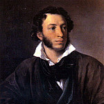 Tropinin Vasily - Portrait of Alexander Pushkin , 900 Classic russian paintings