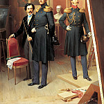 900 Classic russian paintings - Villevalde Bogdan - Nicholas I to the Tsarevich Alexander Nikolaevich in the artists studio in 1854