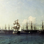 900 Classic russian paintings - Ivan Aivazovsky - The Black Sea Fleet in Feodosiya