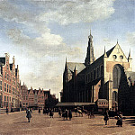 Dutch painters - BERCKHEYDE Gerrit Adriaensz The Market Square At Haarlem With The St Bavo