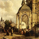 Dutch painters - Bommel Elias Pieter Van Figures At The Entrance Of The St Stevens Church