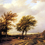 Dutch painters - Bodeman Willem Travellers In An Extensive Landscape With A Town Beyond