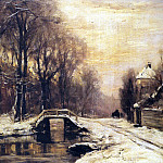 Apol Louis A Snowcovered Forest With A Bridge Across A Stream, Louis Apol