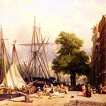 Dutch painters - Groot Frans Arnold Breuhaus de Activity By The Docks