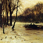 Dutch painters - Apol Louis Figures In A Winter Landscape At Dusk