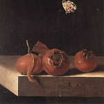 Dutch painters - COORTE Adriaen Three Medlars With A Butterfly