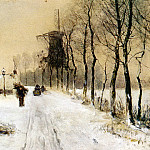 Apol Louis Wood Gathering On A Country Lane In Winter, Louis Apol