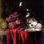 Dutch painters - Van Aelst Willem A Still Life Of Grapes, A Roemer, A Silver Ewer And A Plate