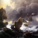 Dutch painters - BACKHUYSEN Ludolf Ships In Distress Off A Rocky Coast