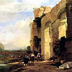 Dutch painters - ASSELYN Jan Italian landscape With The Ruins Of A Roman Bridge And Aqueduct