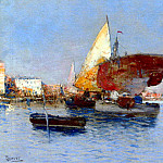 Spanish artists - Herrer Cesar Fishing Vessels In The Venetian Lagoon