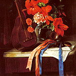 Spanish artists - Murillo Jose Maria Bracho y Still Life With Mandolin And Castagnets