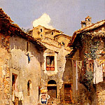 Marco Vicente March y A Roman Courtyard In Summer, Spanish artists