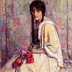 Roelofs Albert A Girl Holding Flowers, Spanish artists