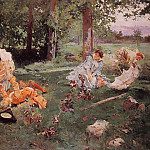 Elegant figures in a summer Garden, Spanish artists