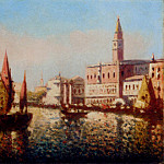 Spanish artists - Miro Joaquin Trading Vessels In The Bacino Di San Marco Venice