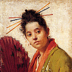 Fontano Roberto A Young Girl Holding A Fan, Spanish artists