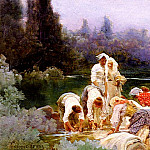 Spanish artists - Auque Enrique Serra y Washerwomen At The Rivers Edge