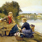 Jimenez y Aranda Luis WASHERWOMEN ON A RIVER BANK, Spanish artists