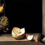Spanish artists - SANCHEZ COTAN Juan Still life With Quince cabbage Melon And Cucumber