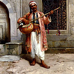 Polish artists - Chlebowski Stanislaus Von A Musician Playing Before A Mosque In Constantinople