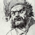 Head Pugacheva. Sketch. Fig. 19, 1h17, 9 TG, Vasily Perov