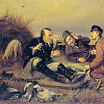 hunters in camp. 1877. Copyright. repetition. Oil on canvas. 58h89 RM, Vasily Perov