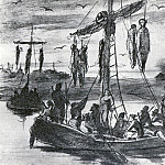 Executed Pugachev. Fig. pencil and pen. 1878 TG, Vasily Perov