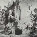 Vasily Perov - The division of inheritance in the monastery (The death of a monk). Drawing pencil. 1868 Fig. 18h27, 5 GTG