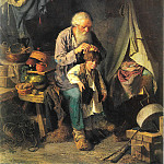 Grandfather and grandson. H. 1871, 78h62 pm Tashkent, Vasily Perov