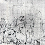 Regular pool. Sketch. AB 1865, gr. c. 10. 3h12. 3 TG, Vasily Perov