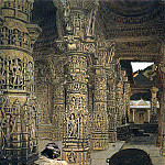Colonnade in the Jain temple at Mount Abu in the evening. 1874-1876, Vasily Vereshchagin