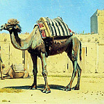 camel in the courtyard of the caravanserai. 1869-1870, Vasily Vereshchagin