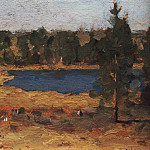Isaac Ilyich Levitan - Lake. Sheds in the forest edge. 1898-1899