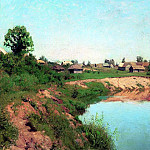 Village on the river bank. 1883, Isaac Ilyich Levitan