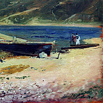 boat on the shore. 1880, Isaac Ilyich Levitan