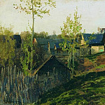 huts illuminated by the sun. 1889, Isaac Ilyich Levitan