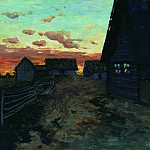 huts. After sunset. 1899, Isaac Ilyich Levitan