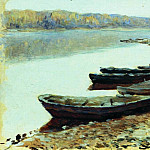 Isaac Ilyich Levitan - Volga landscape. Boats near the shore. 1877-1878