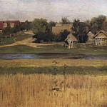 Sheaves and village by a river. Beginning 1880, Isaac Ilyich Levitan