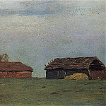 Landscape with buildings. 1890, Isaac Ilyich Levitan