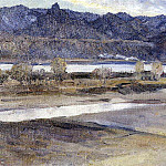Mountains near Krasnoyarsk. 1909, Vasily Ivanovich Surikov
