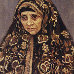 Vasily Ivanovich Surikov - old woman in a patterned headscarf. 1886