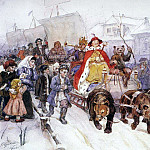 Vasily Ivanovich Surikov - Large masquerade in 1722 on the streets of Moscow with the participation of Peter I and Romodanovsky JF Romodanovsky. 1900