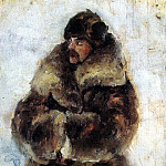 Vasily Ivanovich Surikov - A. Surikov in a fur coat. 1889-1890