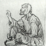 Simpleton, seated on the ground, Vasily Ivanovich Surikov
