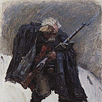 old soldier, coming down the slope of a snowy mountain. 1898, Vasily Ivanovich Surikov