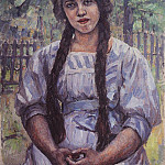 Vasily Ivanovich Surikov - girl with pigtails. Portrait of A. Dobrinsky. 1910